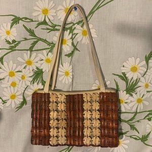 Vintage tan mahogany carved wood tile shoulder bag